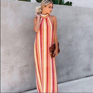 Vici Striped Maxi Halter Dress Size Medium